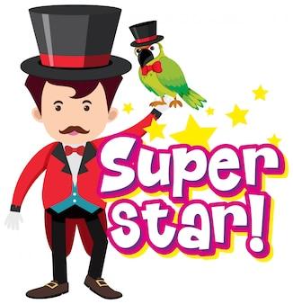 Дизайн шрифта для суперзвезды слова с волшебником и попугаем