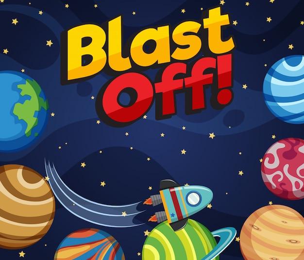 Дизайн плаката со словом взрыва и много планет в космосе
