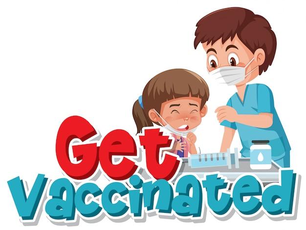 白い背景の上の予防接種を得る女の子