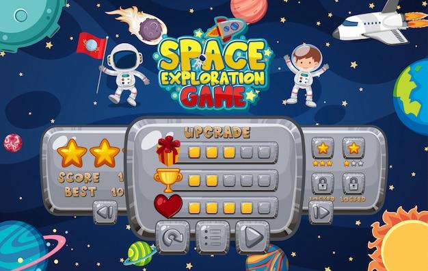 Шаблон игры с множеством планет на космическом фоне