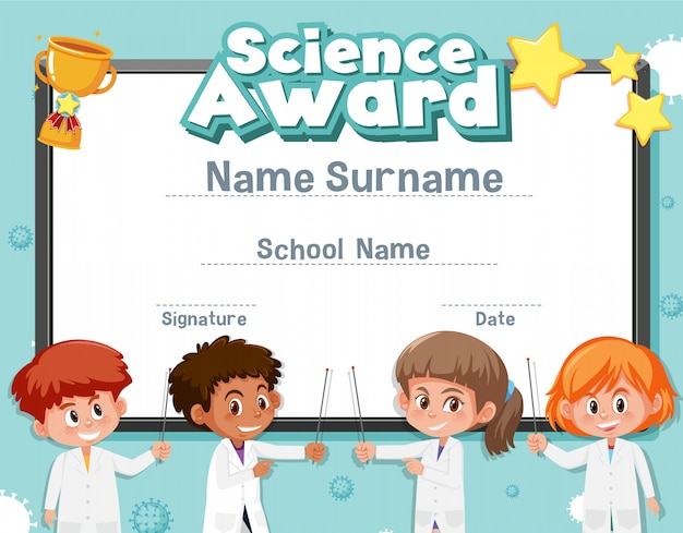 ラボバックグラウンドで子供と科学賞の証明書テンプレート