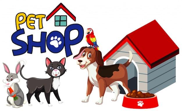 Дизайн шрифта для зоомагазина со многими милыми животными