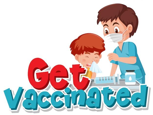 白い背景の上の予防接種を受ける少年