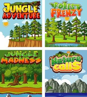 Четыре фона дизайна с темой природы