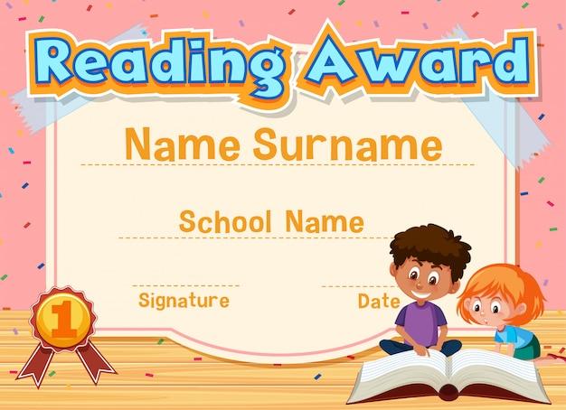 バックグラウンドで本を読む子供たちと賞を読むための証明書テンプレート