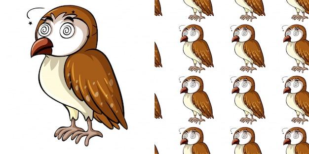 Бесшовный фон с больной совой