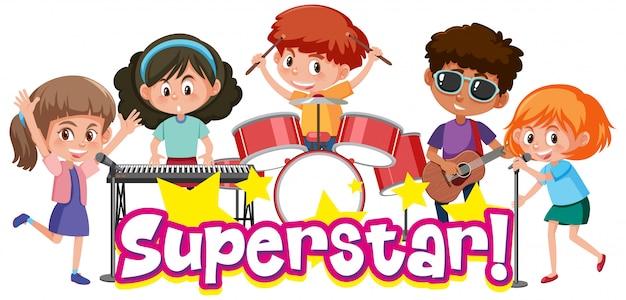 Шаблон дизайна шрифта для слова суперзвезда с детьми, играющими в группе