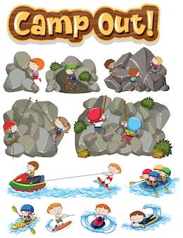 さまざまな活動をしている子供たちと一緒にキャンプする単語のフォントデザイン