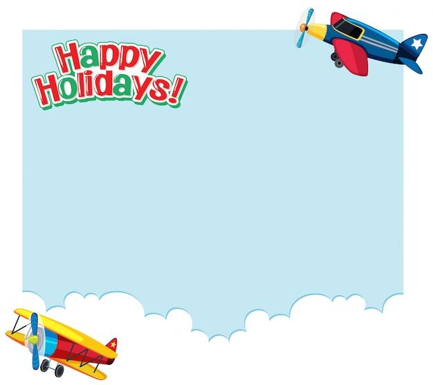 空を飛んでいる飛行機と背景デザイン。休日のコンセプト