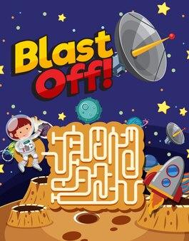 Шаблон игры с космонавтом и звездами в космосе