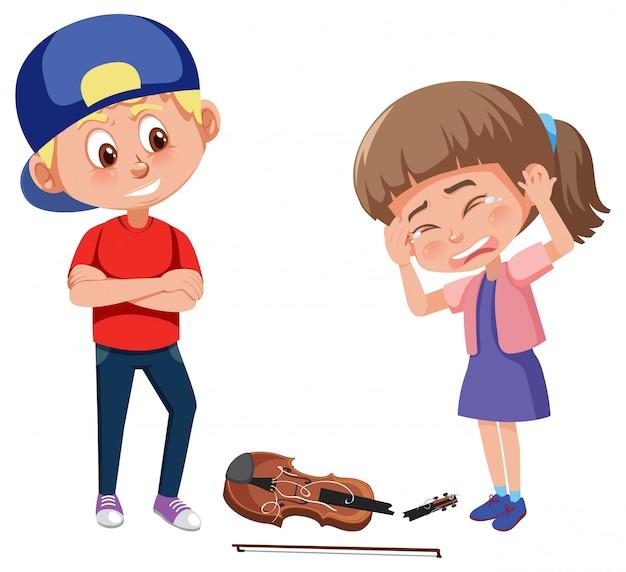 白い背景の上の他の人をいじめている子供と家庭内暴力