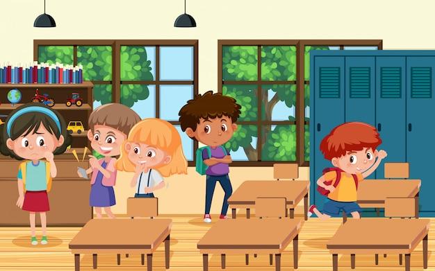 子供が教室で友達をいじめているシーン
