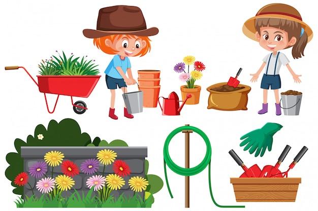 Набор садовых предметов изолированных