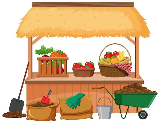 果物や野菜がたくさんあるフードベンダー