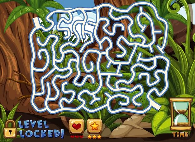 Настольная игра шаблон с зеленым фоном леса