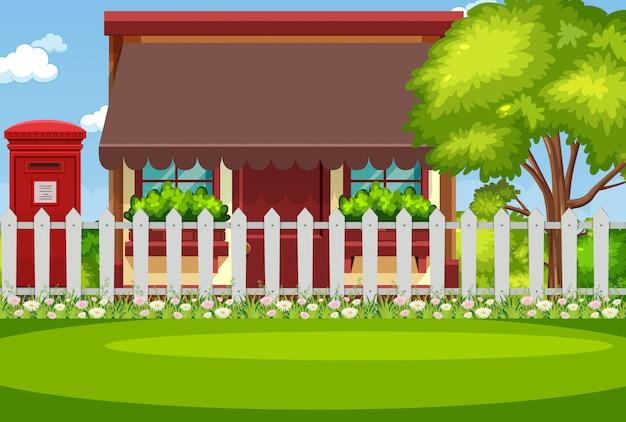 ホースと緑の芝生の背景シーン