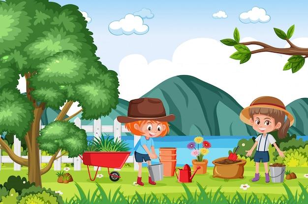 公園で花を植える子供たちと背景シーン