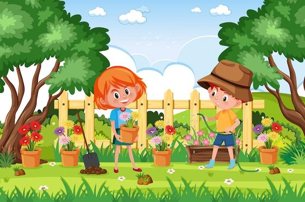 公園で働いている子供たちと背景シーン