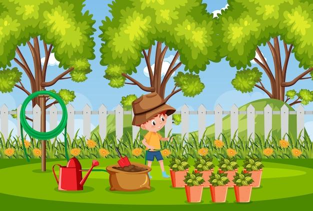 公園で木を植える少年と背景シーン