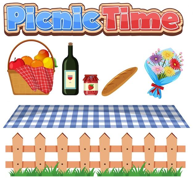 食べ物と花のピクニック時間