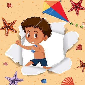 Шаблон фона с счастливым мальчиком и морскими звездами