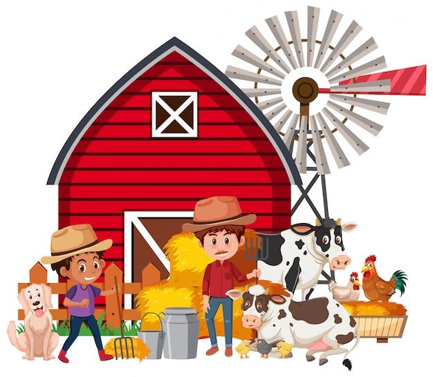 農家と農場の家畜とのシーン