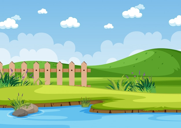 公園の川の背景シーン
