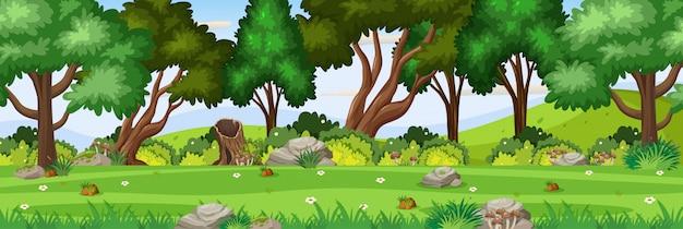 公園にたくさんの木がある背景シーン
