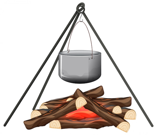 キャンプファイヤーと白い背景の上の鍋料理
