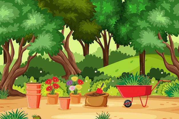 公園の園芸ツールの背景シーン