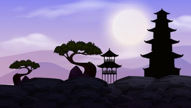 Фоновая сцена с темным небом и японским храмом