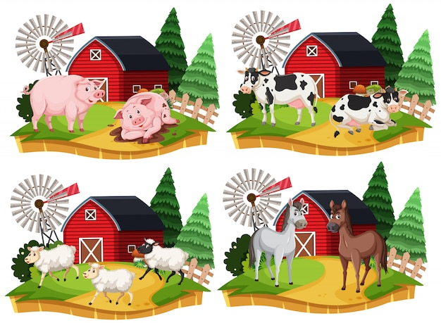 Группа сельскохозяйственных животных мультипликационный персонаж на белом фоне