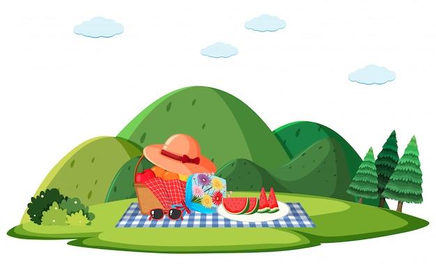 草の上のピクニックランチと背景シーン
