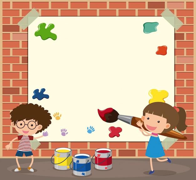 Белый шаблон бумаги с изображением мальчика и девочки