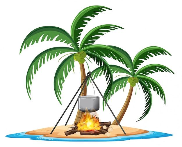 Кемпинг элемент на тропическом острове