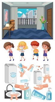 空の部屋と病気の子供たちのセット