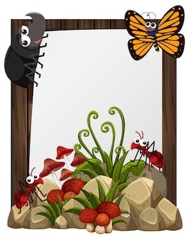 Бумажный шаблон с насекомыми в саду