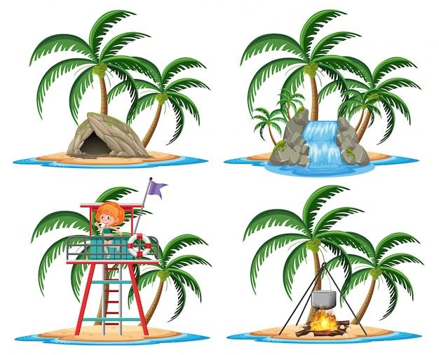 白い背景に熱帯の島の漫画のスタイルの要素のグループ
