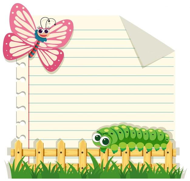 Линейный шаблон для бумаги с бабочкой и гусеницей