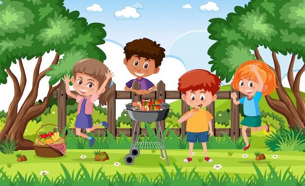 公園で幸せな子供たちと背景シーン