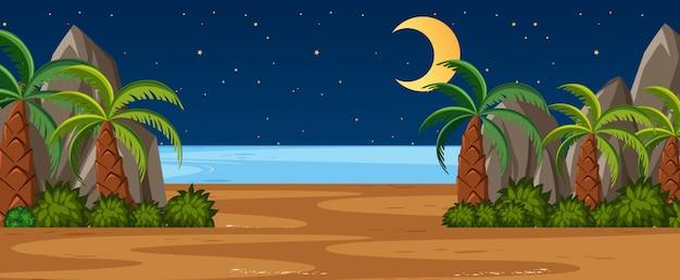 ビーチビューと夜空の月でヤシの木と地平線自然シーンや風景の田園地帯