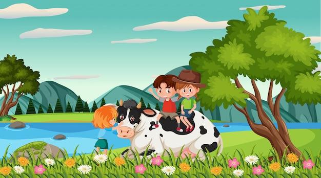 公園で幸せな子供と動物とのシーン