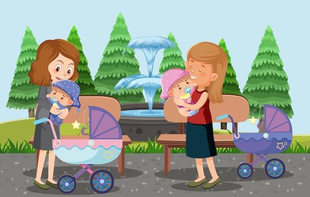 両親が子供とベビーカーを公園の漫画スタイルに連れて行く