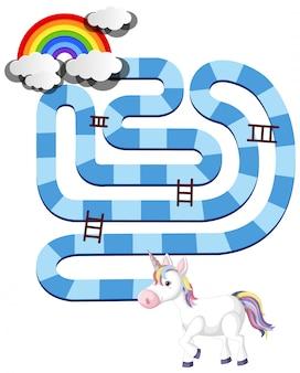 Радужный единорог шаблон настольной игры для детей дошкольного возраста изолированы