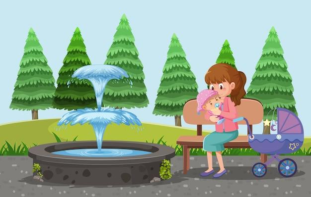 Мама везет ребенка и коляску в парк мультяшном стиле