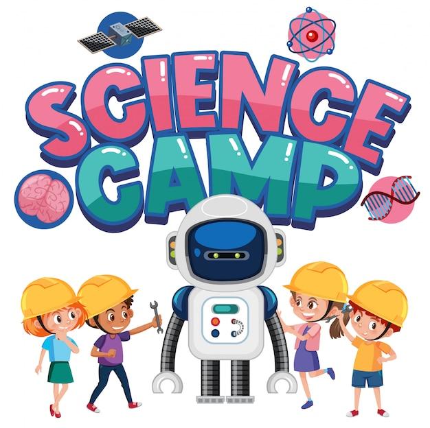 分離されたエンジニアの衣装を着ている子供たちとサイエンスキャンプのロゴ