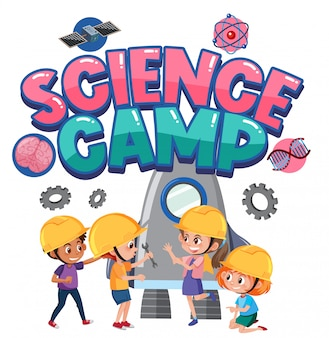 Логотип научного лагеря с детьми в костюме инженера