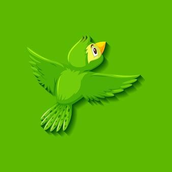 かわいい緑の鳥の漫画のキャラクター