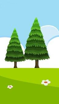 空白の空と緑の松と空の自然シーン