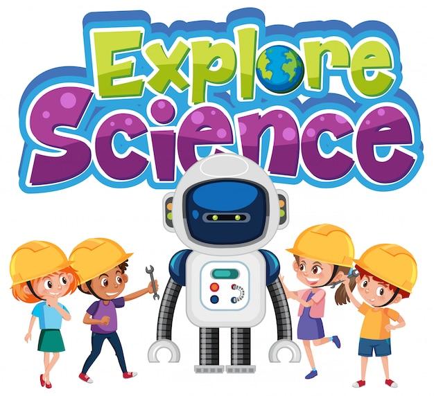 分離されたエンジニアの衣装を着ている子供たちと一緒に科学のロゴを探索する